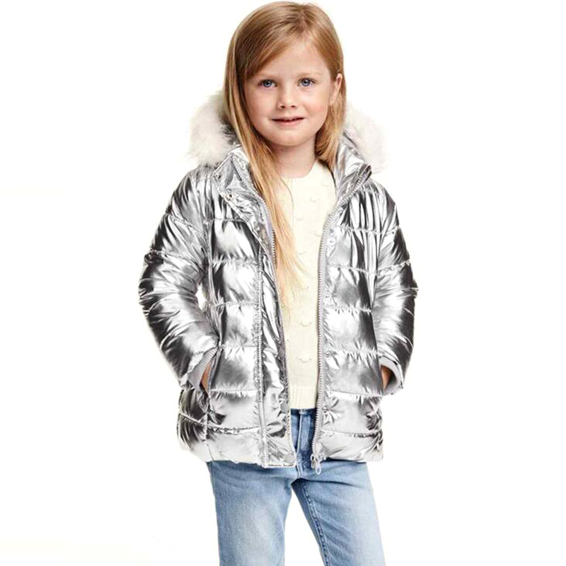 New Girls Outerwear Girls Winter Coats Double Pocket Fashion Silver children Winter Coats Cute Clothes Wool Hooded Jacket