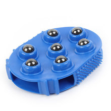 UXCELL Blue Hanging Ring Metal 7 Rollers Handheld Body Care Feet Arm Massager