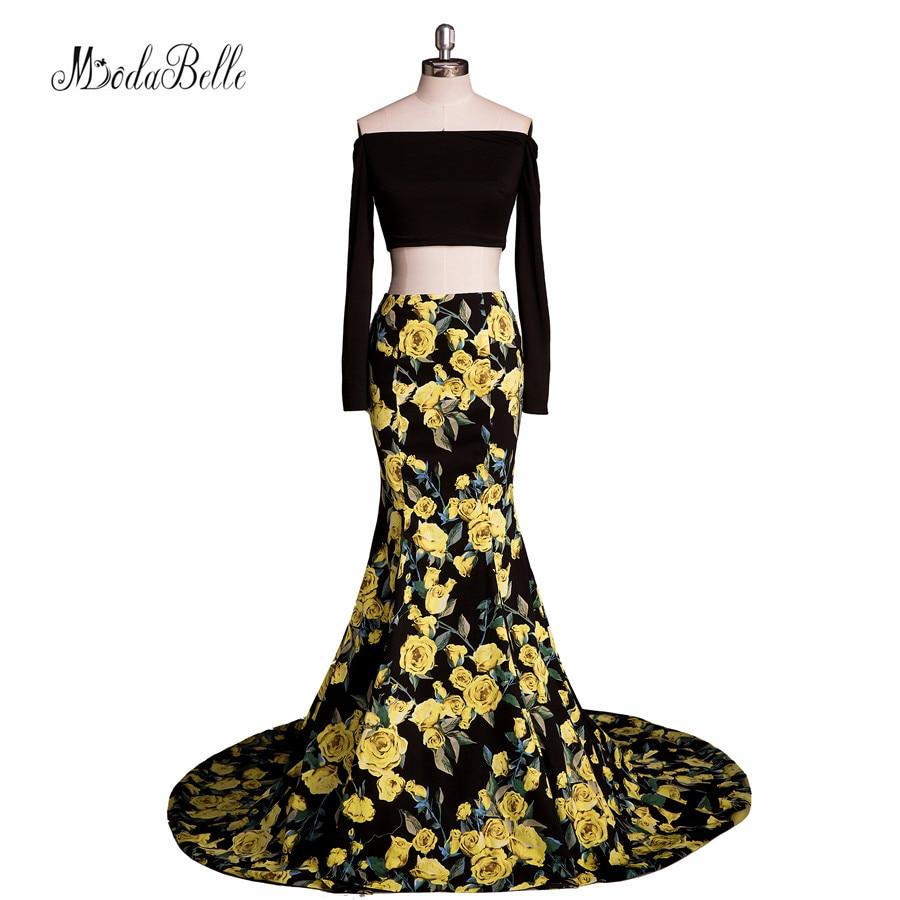 Arabo Mermaid 2 pezzo stampa floreale Prom Dresses 2017 manica lunga unico primavera estate Prom Gown per adolescenti Vestido de Formaturas
