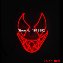 Haunted houses EL lighting plastic shark mask with 2pcs AA battery control canival mask for halloween and christmas