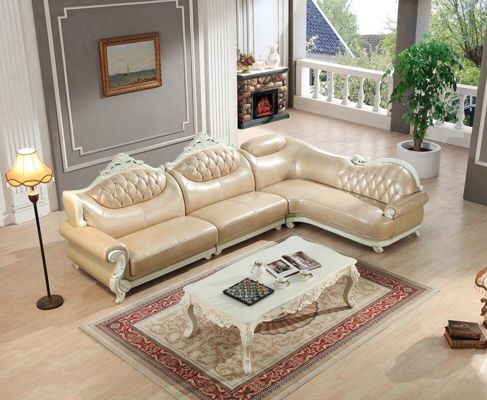 Online Shop Amerikanischen Ledercouchgarnitur Wohnzimmer Sofa China Holzrahmen L Form Ecksofa Beige