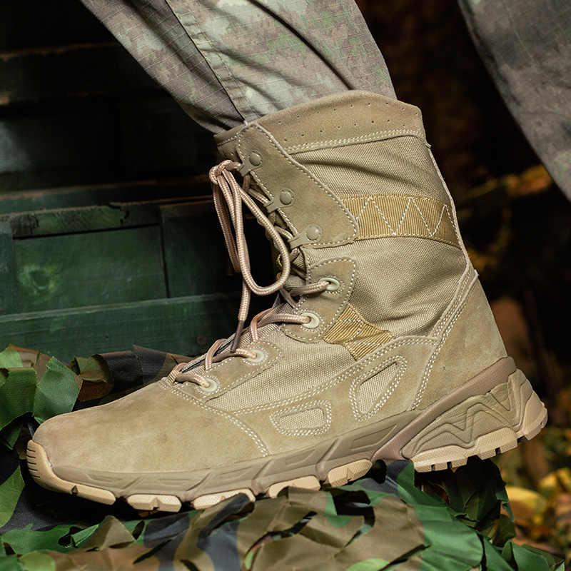 Мужские армейские военные сапоги, бежевые армейские зеленые дезерты, удобные треккинговые ботинки, Мужская износостойкая уличная мужская обувь