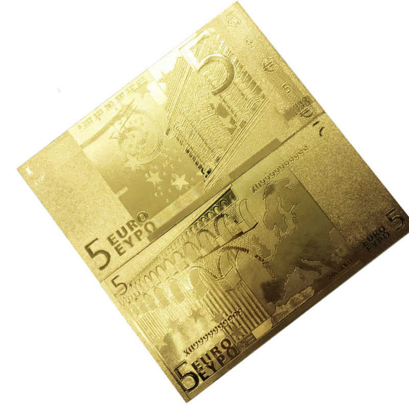 1pcs Golden Euro Banknote Sets 5 EUR Gold Banknotes 24K Gold foil commemorative coin home decro Gold banknotes