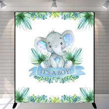 Elephant Baby Shower Backdrop It's A Boy Peanut Baby Shower Photography Background Vinyl Baby Shower Party Banner Decoration(China)