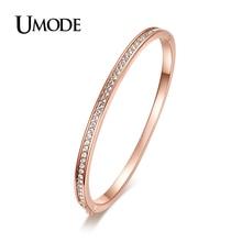 UMODE Bijoux  Rose Gold / Rhodium plated Half Circle Austrian Rhinestones Cuff Bangles & Bracelets For Women AJB0073