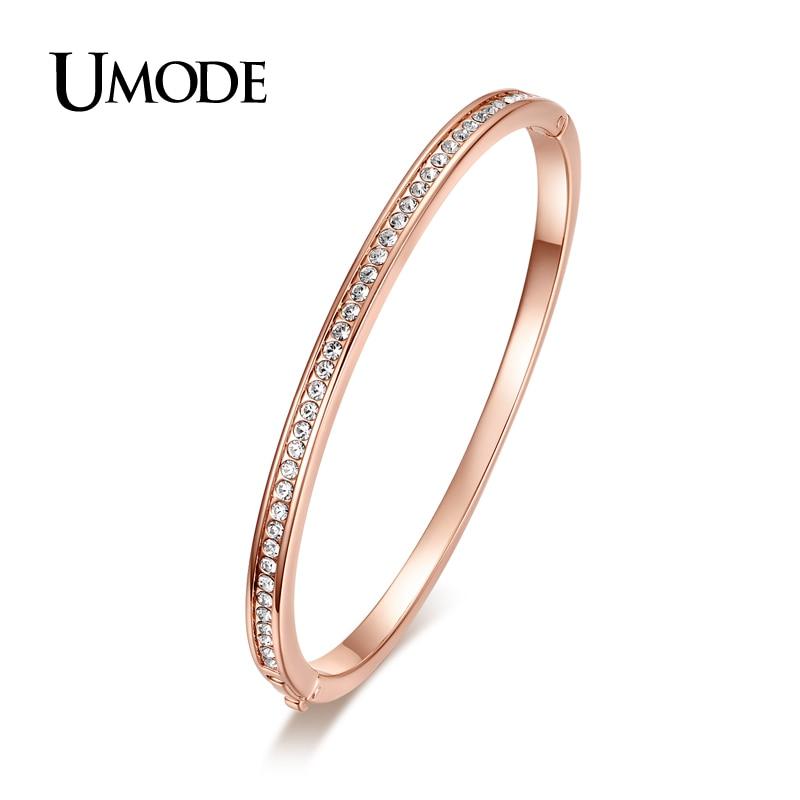 UMODE Brand Fashion Jewelry Bijoux Rose Gold Color Half Circle Austrian Rhinestones Cuff Bangles & Bracelets For Women AJB0073 gold open cuff bracelets for women bijoux jewelry