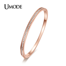 UMODE Brand Fashion Jewelry Bijoux Rose Gold Color Half Circle Austrian Rhinestones Cuff Bangles Bracelets For