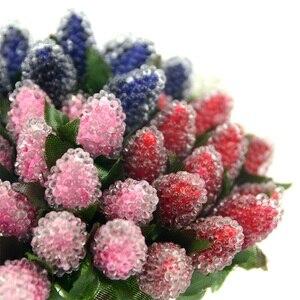 Image 2 - Искусственные стеклянные ягоды, фрукты, красная вишня, пластиковые фрукты для дома, свадебное украшение, искусственная клубника, цветок тутового шелкопряда, 12 шт.