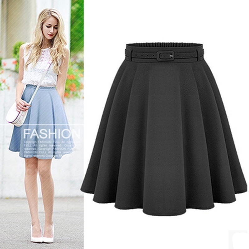 2017 A Line Flare Pleated Fashion Street Style Women Solid Black ...