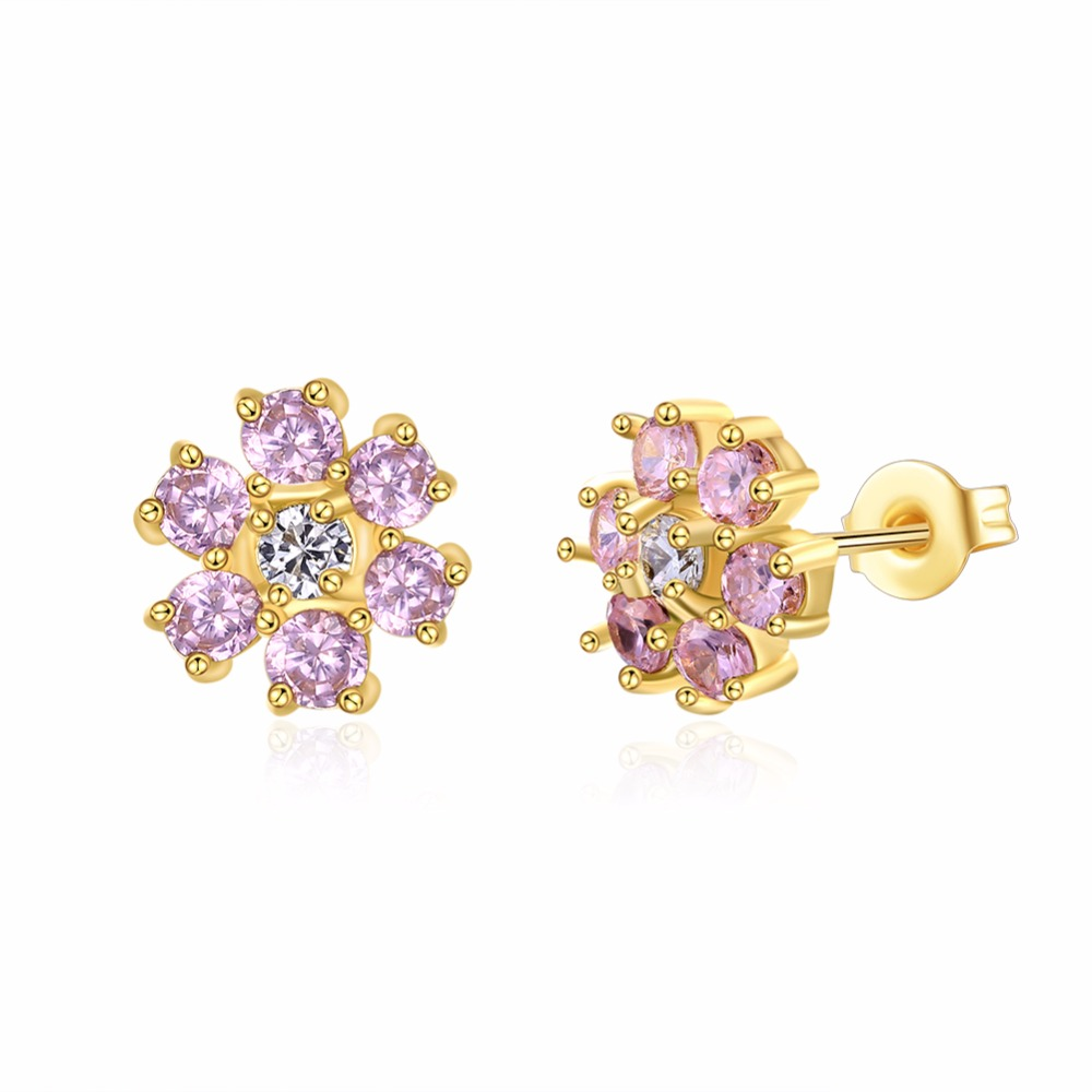 Online Shop Fashion Jewelry Light Pink Zircon Pave Flower Design ...