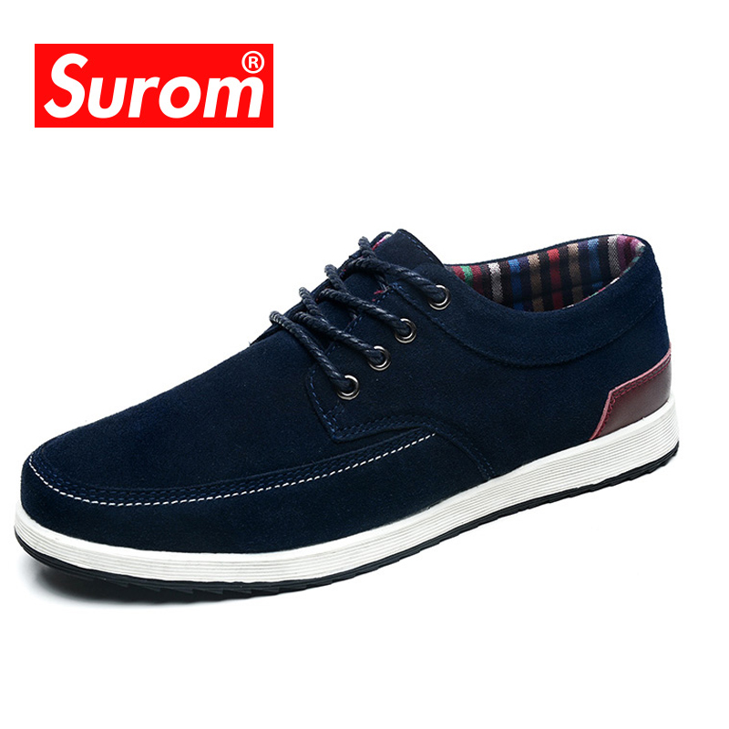 SUROM Men's Boat Shoes 2018 Spring New Male Suede Leather Casual Shoes Fashion Lace up Sneakers Krasovki Hot sale Loafers spring breathable men casual shoes lace up soft leather loafers korean style male sneakers youth dance shoes 01b