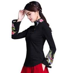 Top Cheongsam Roupa Tradicional Chinesa Para As Mulheres Camisa de Manga Longa Plus Size 5XL Algodão Roupas Top Tee Blusa Camisa Do Vintage