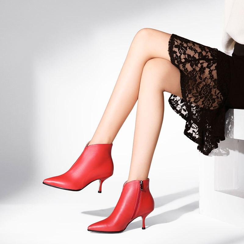 Ins 뜨거운 여성 발목 부츠 정품 가죽 22 25 cm 단색 간단한 패션 야생 멋진 모든 일치 지적 된 스틸 레토 지퍼 신발-에서앵클 부츠부터 신발 의  그룹 1