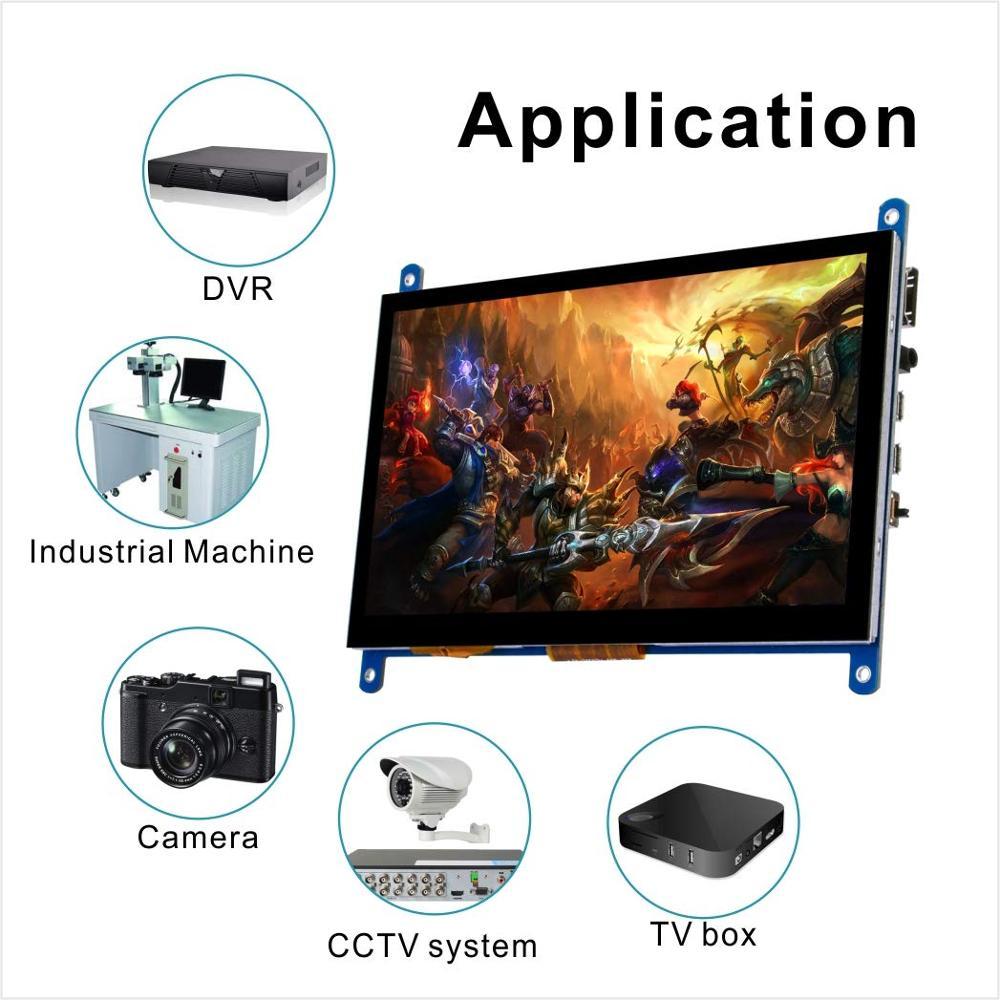 7 pollici HDMI TFT Touch Screen Display LCD Monitor HD 1024x600 per Raspberry Pi 3 Modello B + pi 4 Del Computer TV Box DVR Dispositivo di Gioco - 6