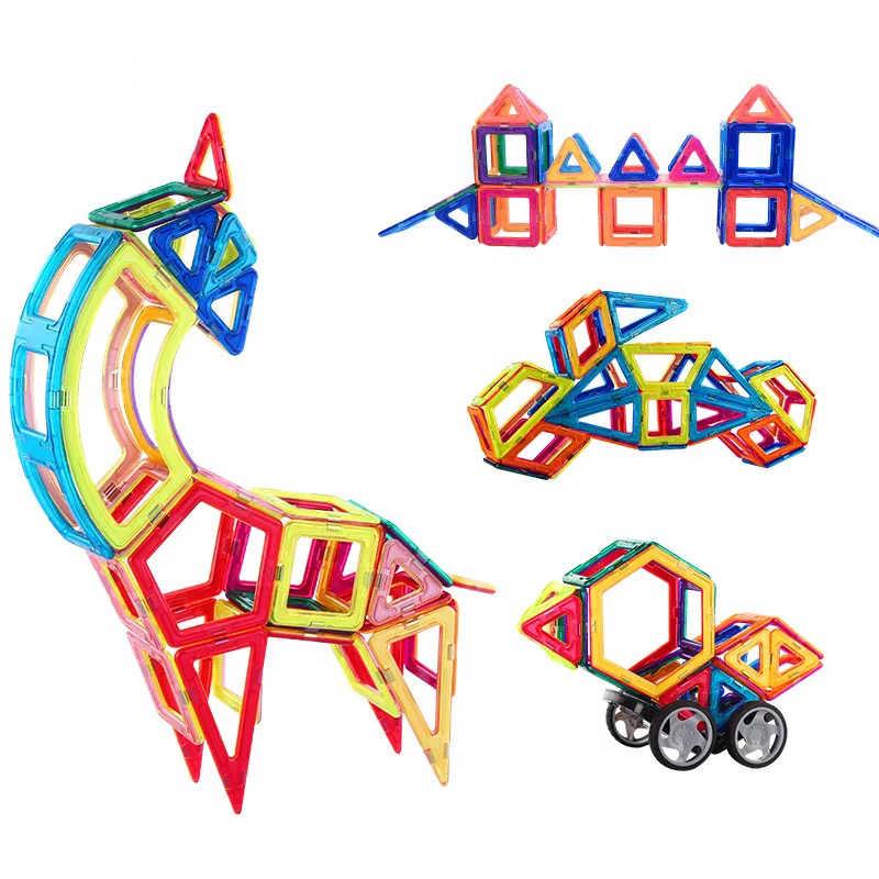 Magnetic Building Blocks ชุดของเล่นกระเบื้องบล็อกชุดของเล่นสำหรับเด็กเพื่อการศึกษาก่อสร้างรูปร่าง Ferris ล้อและรถ