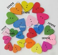 WBNAEO rainbow colorful heart love buttons mixed 100 pieces diy hand made decorative crafts button