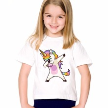 TEEHEART  Boys/girlss Modal T-shirt Fashion Dabbing Unicorn Printed Harajuku Cartoon T shirt Children Tee Shirts 18M-10T TA678