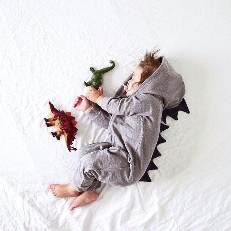 Cartoon Dinosaur Design Hooded Baby Pajacyki Noworodka Odzież - Odzież dla niemowląt - Zdjęcie 1