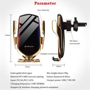 Image 5 - チーワイヤレス車の充電器自動クランプ 10 ワット高速充電ホルダーforIphone11pro xr xs forhuawei P30Pro赤外線センサー電話マウント