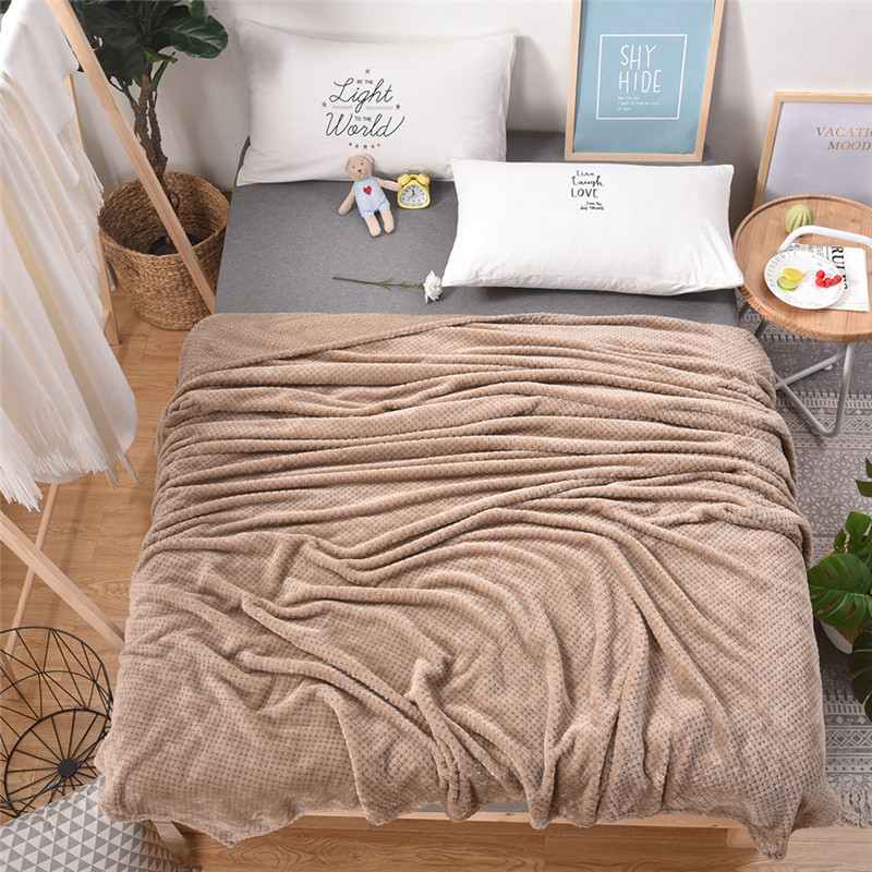 Plaid Blanket Plush Solid Color Bed Covers For Sofa Soft Adult Fleece Throw Blankets Flannel Bedspread For The Couch 60001