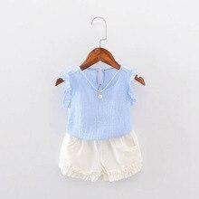 Summer Baby Girls Short Sleeve Solid Blouse Tops + Casual Shorts Infant 2pcs Suits Kids Clothing Set conjunto roupas de bebe