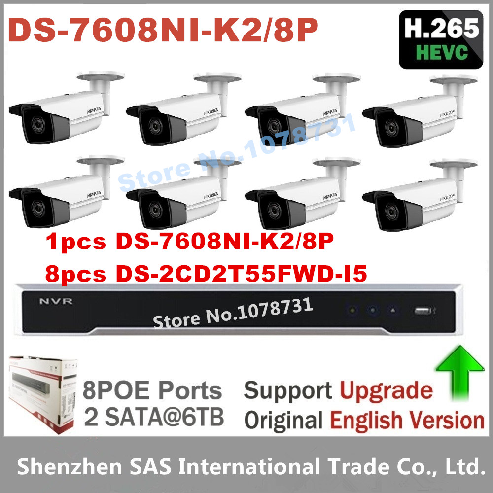 Video Surveillance Hikvision DS-7608NI-K2/8P Embedded Plug & Play NVR + 8pcs Hikvision DS-2CD2T55FWD-I5 5MP H.265 IP Camera 4pcs hikvision surveillance camera ds 2cd2155fwd i 5mp h 265 dome cctv ip camera hikvision nvr ds 7608ni i2 8p 8ch 8ports poe
