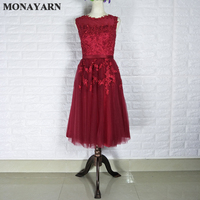 Free Shipping Stock red beaded lace decals short dress 2017 vestido de festa knee length party evening dress