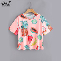 DIDK Women Pink Casual Tops Allover Fruit Print Graphic Tee Shirt For Girls 2017 Summer Round