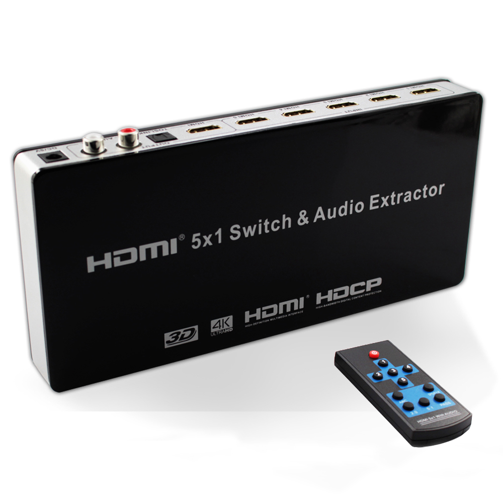 HDMI Switch Audio Extractor Converter 5x1 4K x 2K@30hz 5 Port hdmi switcher Supports Ultra HD 4K Full HD 1080P 3D ARC with IR Re