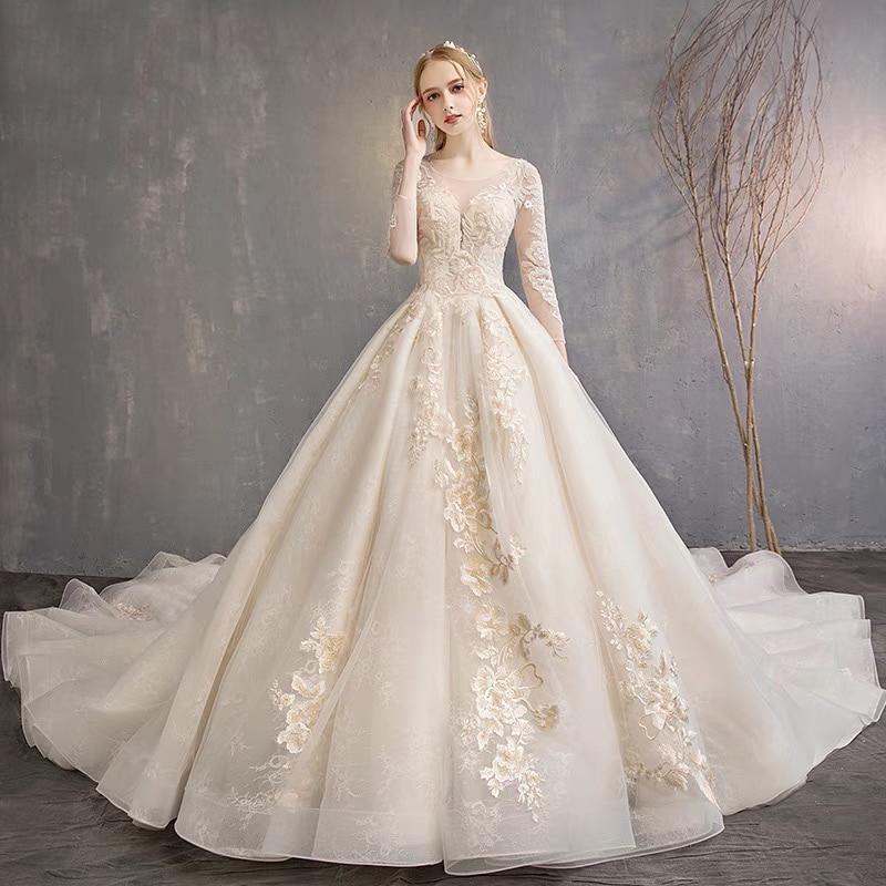 Hot Sale Unique Lace Long Sleeve Ball Gown Wedding Dress