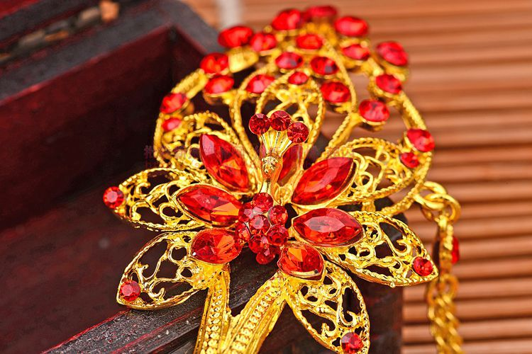 Hot Sale Bride Hair Stick Bridal Hairwear Chinese Style Tassel Red Wedding Hair Accessories Costume Bridal Tiaras in Hair Jewelry from Jewelry Accessories