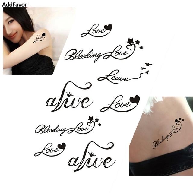 Addfavor 5pcs Heart Love Letters Designs Women Waterproof Temporary