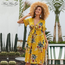 Designed for dignity women Sexy Dress v neck bohemian Dress green flower print Summer beach Dress Evening reception part dress commodity or dignity