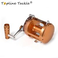 TopLine Рыболовная катушка с двумя скоростными рычагами, алюминиевый ЧПУ обработанный 45 кг Макс Перетащите море лодка троллинг катушка отсадк
