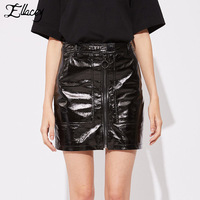 Ellacey New 2018 Summer Skirt PU Leather Women S Skirt Punk Saia Patent Leather Pencil Skirt