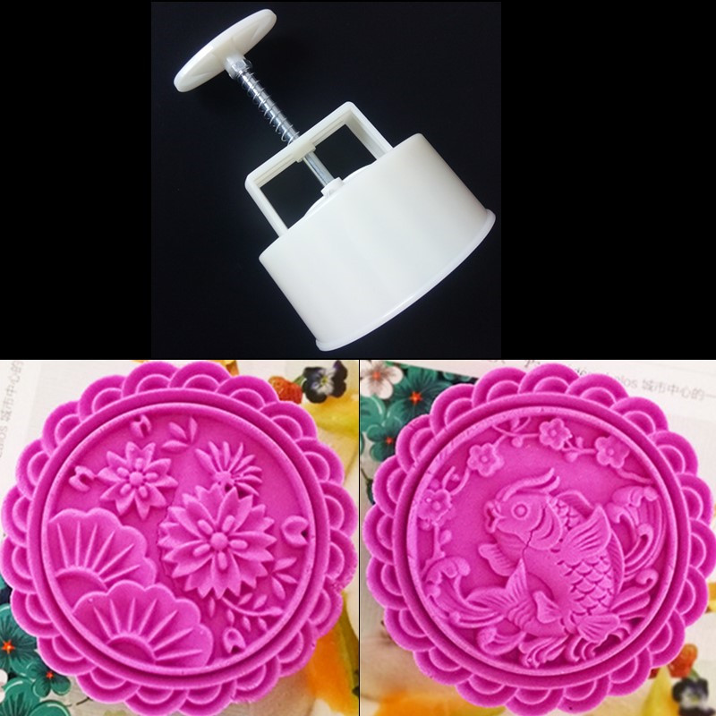 Kitchen Bakeware Products Supplies 250 Grams Moon Cake Mold Hand Press Round 10 CM Fish Flower Mooncake Stamp Cake Plunger Tools