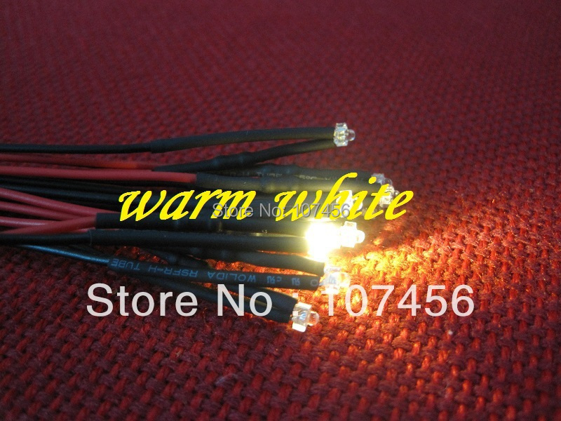 Free Shipping 20pcs 1.8mm Warm White LED Lamp Light Set Pre-Wired 1.8mm 5V Warm White 5V DC Wired