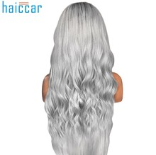 HOT SALE Gray False wig Natural Wave women's wig Sexy Gradient Party Wigs Long Curly Hair Mixed Colors oct31(China)