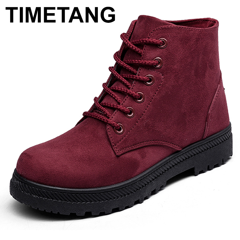TIMETANG Snow Boots Winter Ankle Boots Women Shoes Fashion Heels Rubber Boots Bota Winter Boots Fashion Shoes Plus size35-44 цена