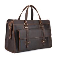 Genuine Leather Travel Duffel Bag Men Packing Cubes Travel Luggage Organizer Large Capacity Carry On Bag Leather Weekend Bag