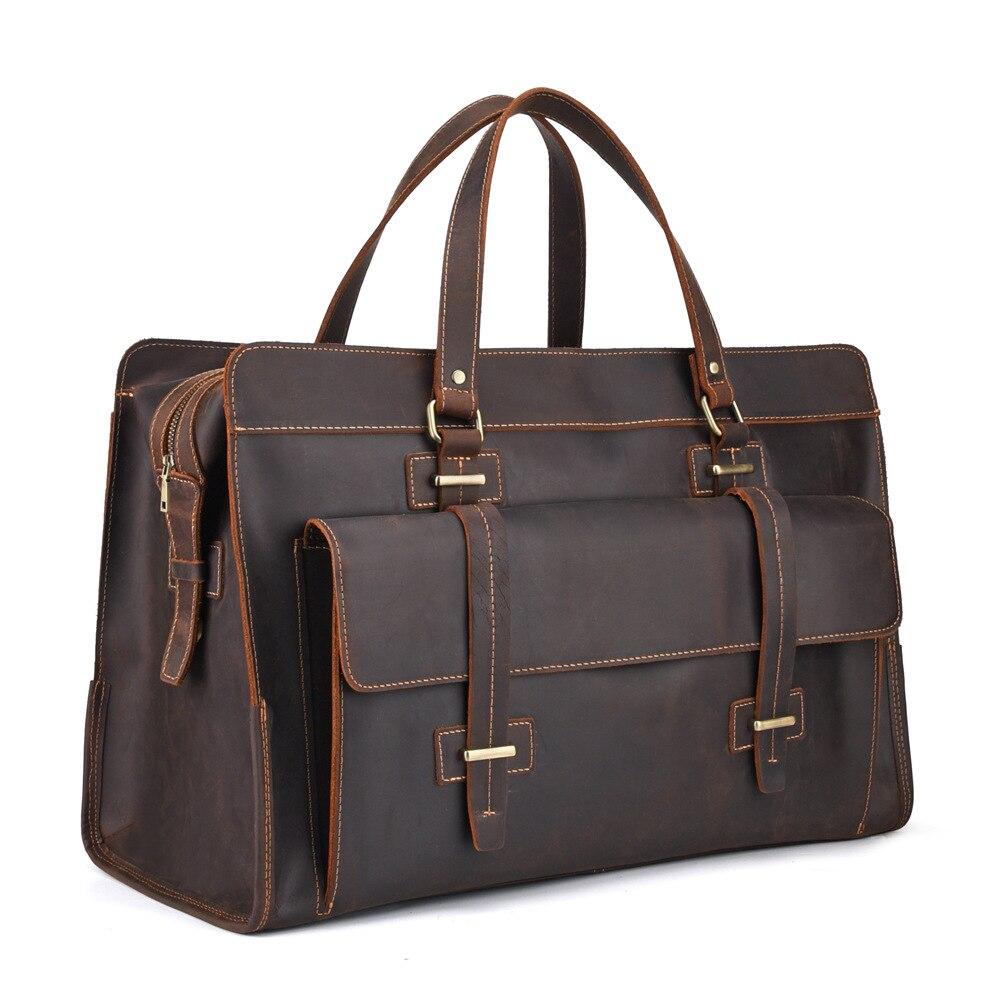 Sac de voyage en cuir véritable hommes Cubes d'emballage organisateur de bagages de voyage grande capacité sac de transport en cuir sac de week-end