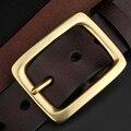 Correia dos homens de Bronze Do Vintage Pin Fivela Homens Cintos de Couro Genuíno de Ouro Marrom de Alta Qualidade Cinto De Designer Mens Casual 105 cm-130 cm
