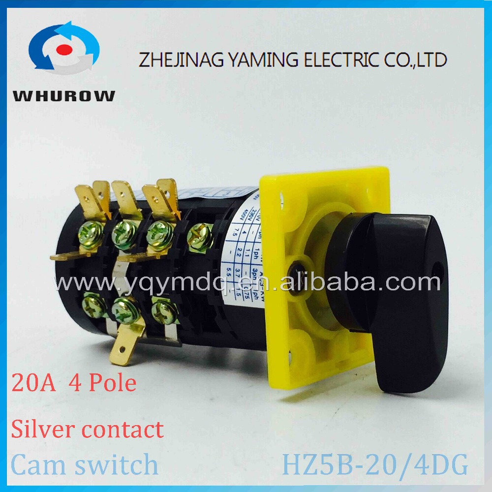 Cam switch HZ5B-20/4 combination changeover rotary switch 3 positions (1-0-2) 4 poles High quality AC50Hz 20A 380V load circuit breaker switch ac ui 660v ith 100a on off 3 poles 3 phases 3no 2 position universal rotary cam changeover switch