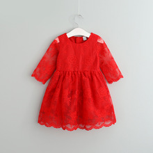 Sweet Baby Girls New Lace Embroidered Flower Irregular Ruffles Dress For 2-7 years old Wholesale 5ps/lot