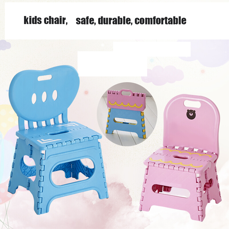 Thicken Folding Stool Plastic Back Portable Home Chair for Kids Outdoor Creative Bench 45cm Child Chair Safe Kid Furniture bamboo bamboo portable folding stool have small bench wooden fishing outdoor folding stool campstool train