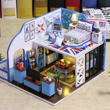 Romantic 3D Miniature Dollhouse DIY Ocean View Doll House Furniture Kit Wooden House Miniaturas Toys With Lamp For Children Gift diy wooden house miniaturas with furniture diy miniature house dollhouse toys for children christmas and birthday gift a28