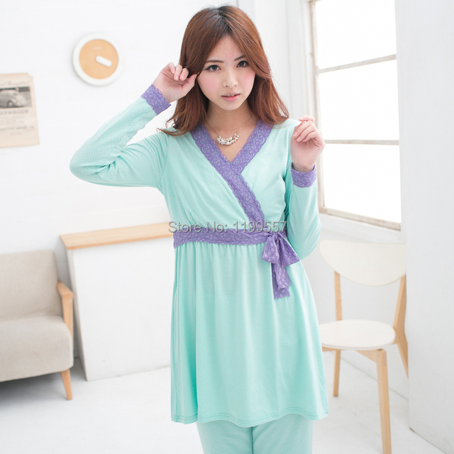 2015 NEW Fashion Cotton Long Sleeve Maternity Pajamas Nursing Nightgown Lounge for Pregnant Women Breastfeeding Clothes