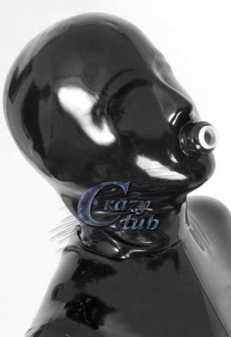 Crazy club_Latex Fetish 100% pure natural latex fetish handmade Black Full Cover Latex Hood Fetish Rubber Mask Custom Size Sale latex mask with tube rubber party mask full cover attached funnel plus size hot sale adult products sexy life