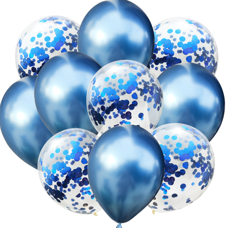 10 шт./лот, 12 дюймов, 5 шт., металлический цвет+ 5 шт., конфетти, латексные шары, для детей, для дня рождения, украшения, шары, мультяшная шляпа, игрушка - Цвет: blue