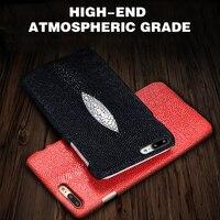 Nieuwe! LANGSIDI Lederen Case Voor Sony xperia e5 case Handgemaakte Custom Luxe Pearl Vis Huid Textuur Back Cover